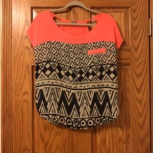 Charlotte Russe Shirt- pink black and white